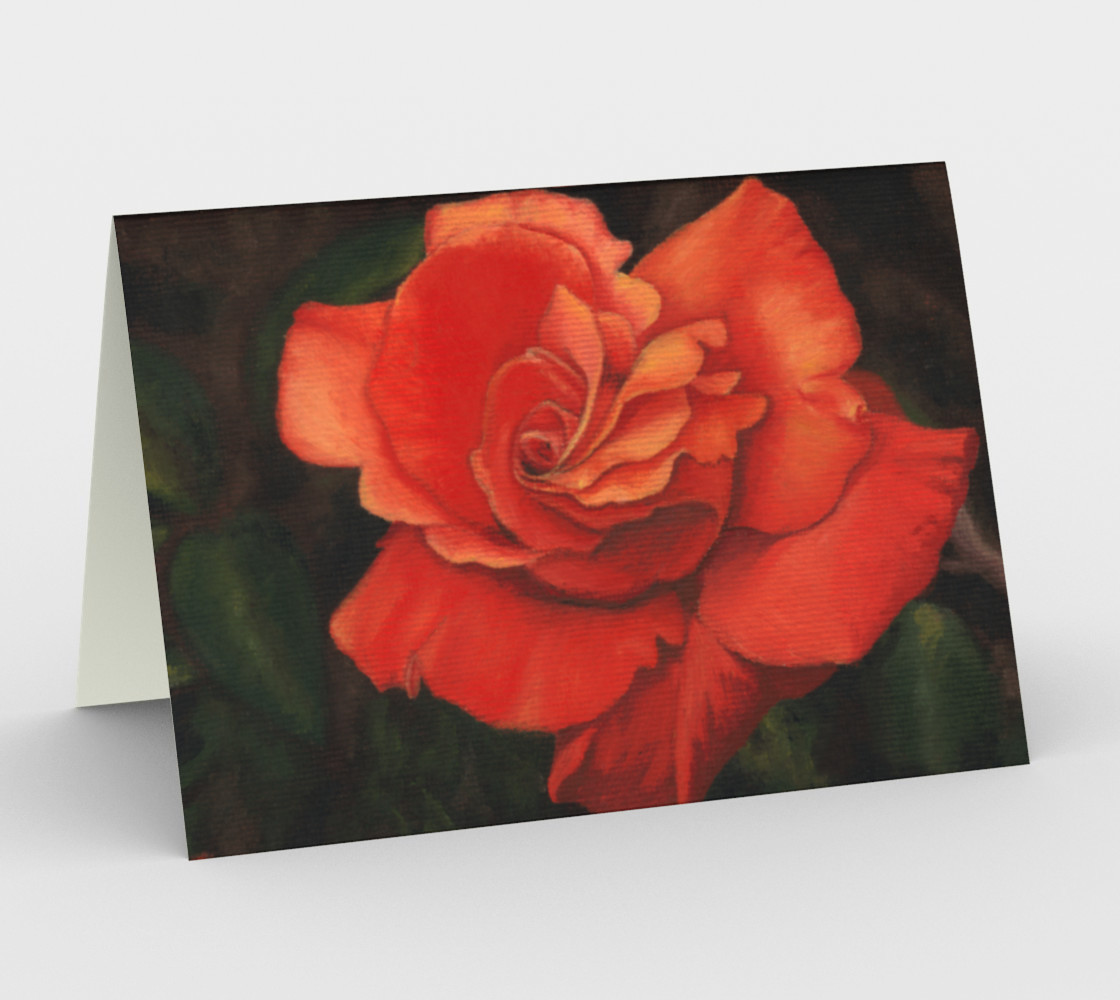 Coral rose flower Stationery Card preview #1