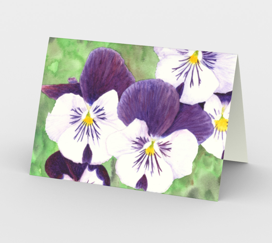 Purple and white pansies flowers Stationery Card preview #2