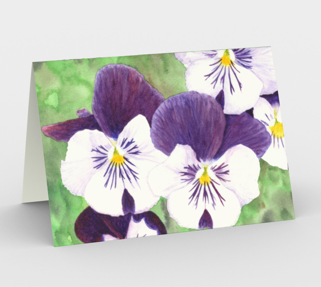 Purple and white pansies flowers Stationery Card preview #1
