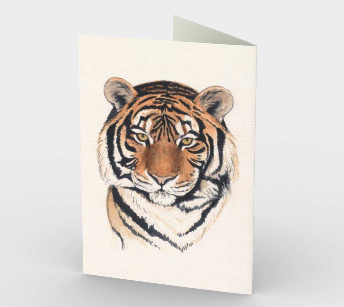 Tiger portrait watercolor Stationery Card preview #2