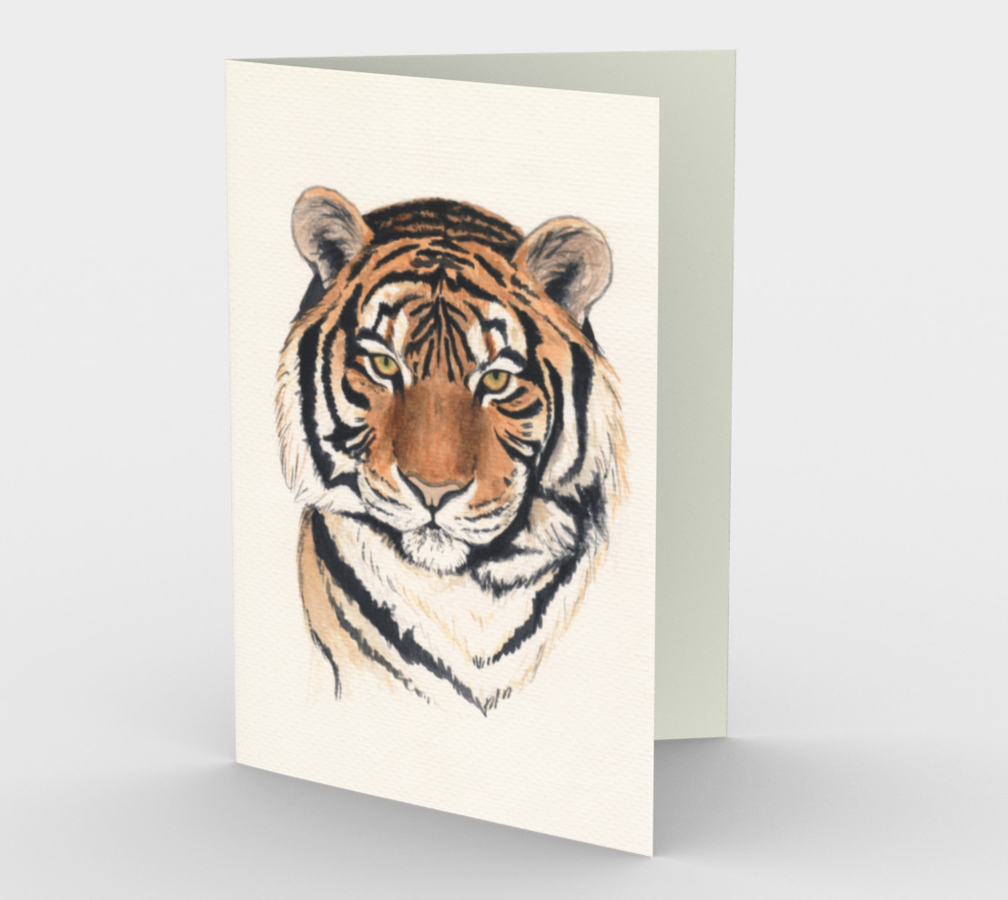 Tiger portrait watercolor Stationery Card preview #1