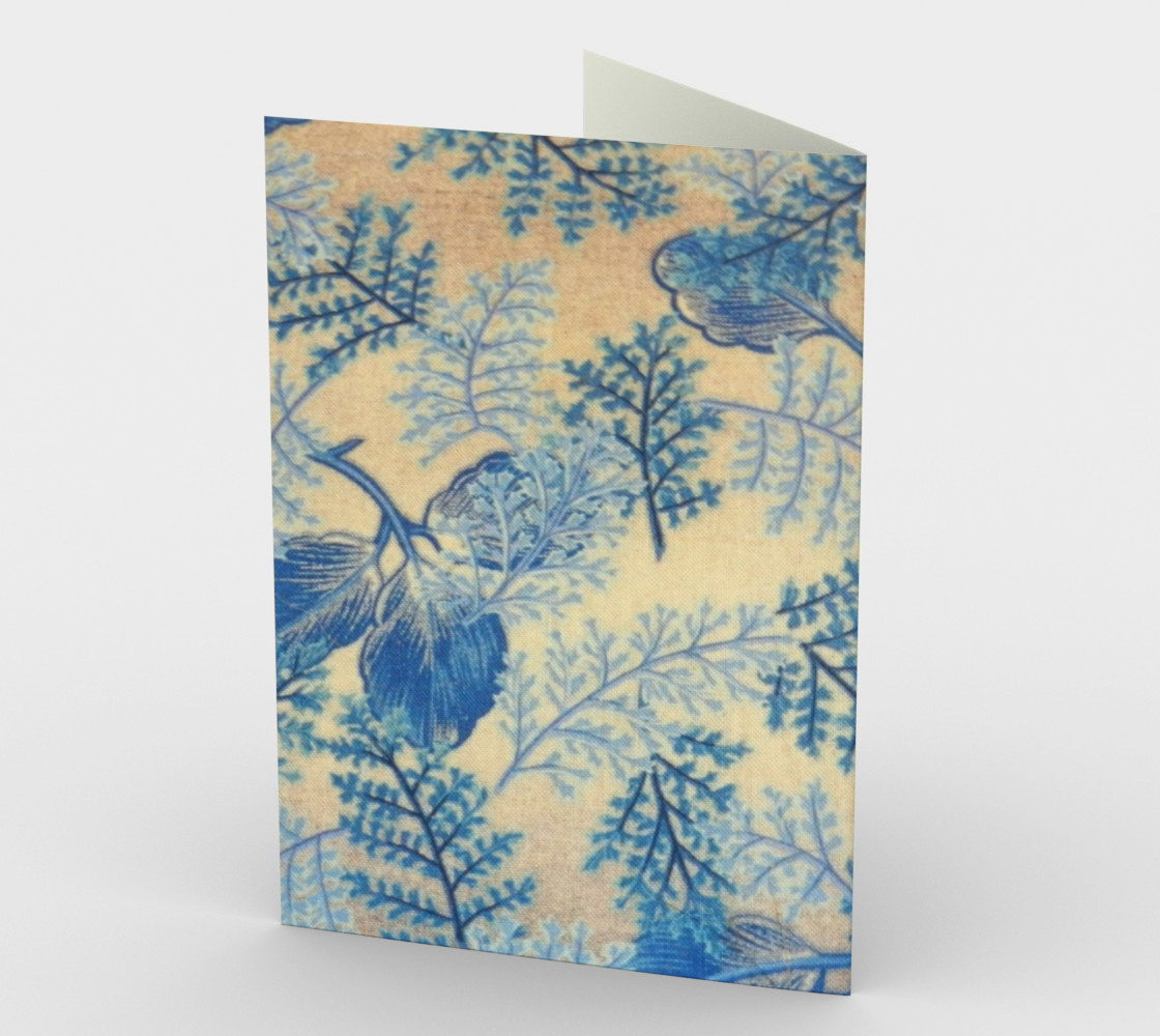 1950s Blue Ferns Fabric Stationary Card preview #2