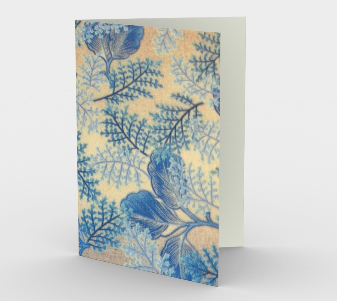 1950s Blue Ferns Fabric Stationary Card preview #1