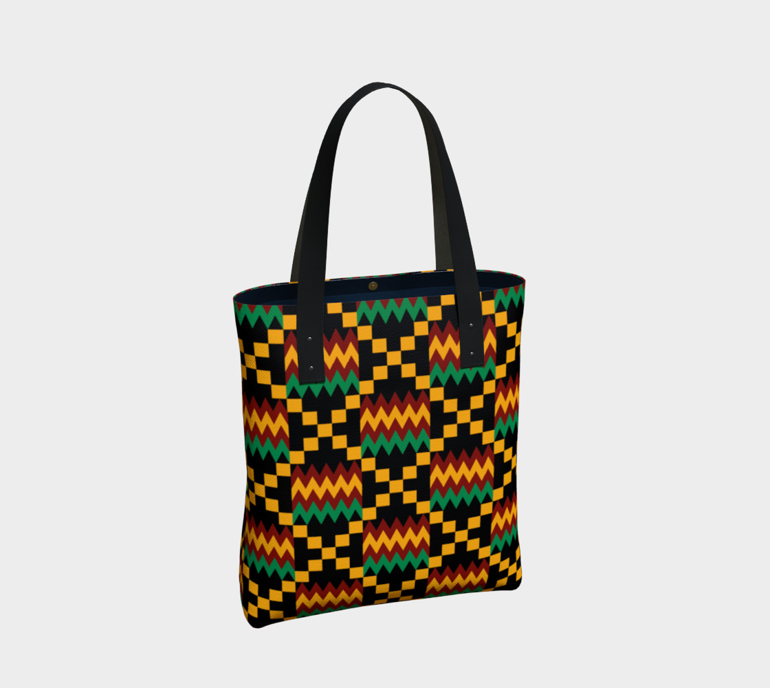 Green, Yellow, and Dark Red Kente Cloth Pattern on Black preview #2