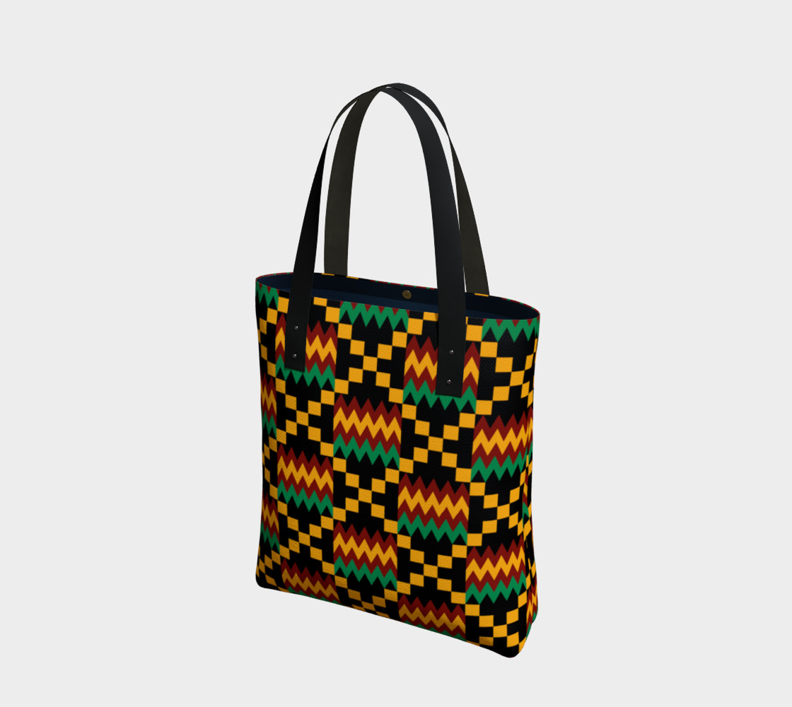 Green, Yellow, and Dark Red Kente Cloth Pattern on Black preview #1