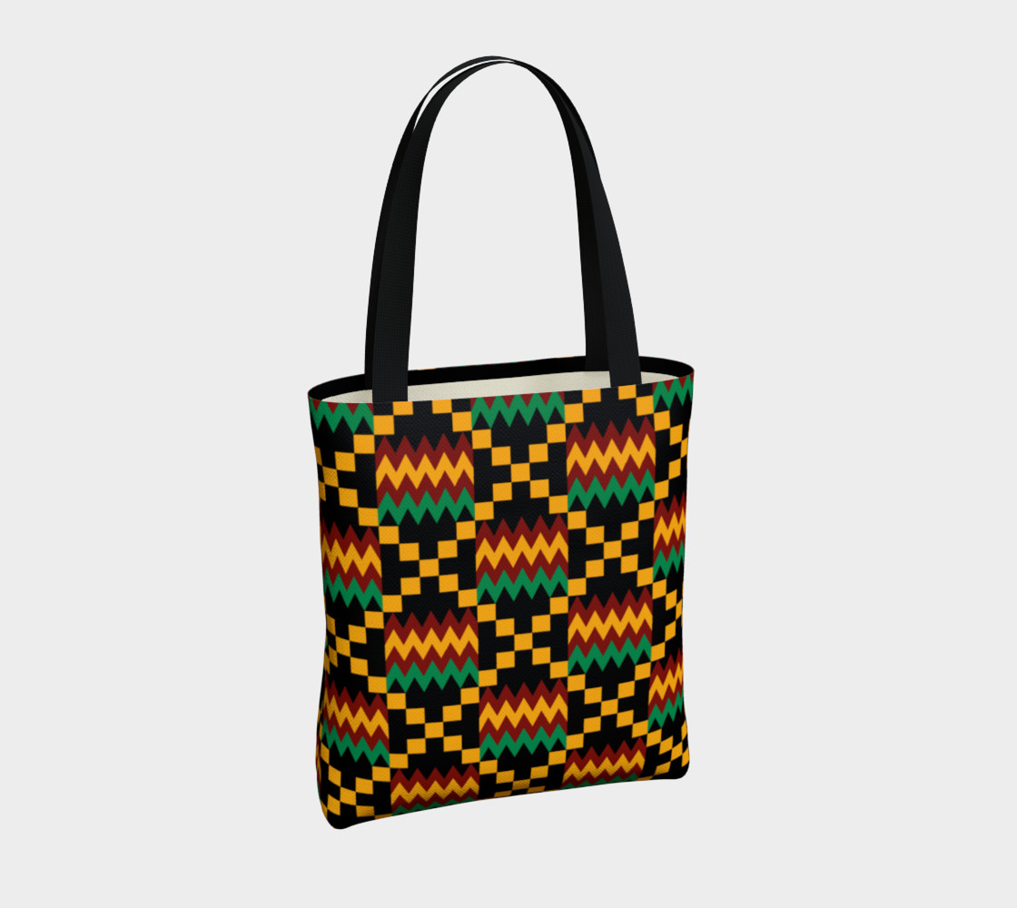 Green, Yellow, and Dark Red Kente Cloth Pattern on Black preview #4