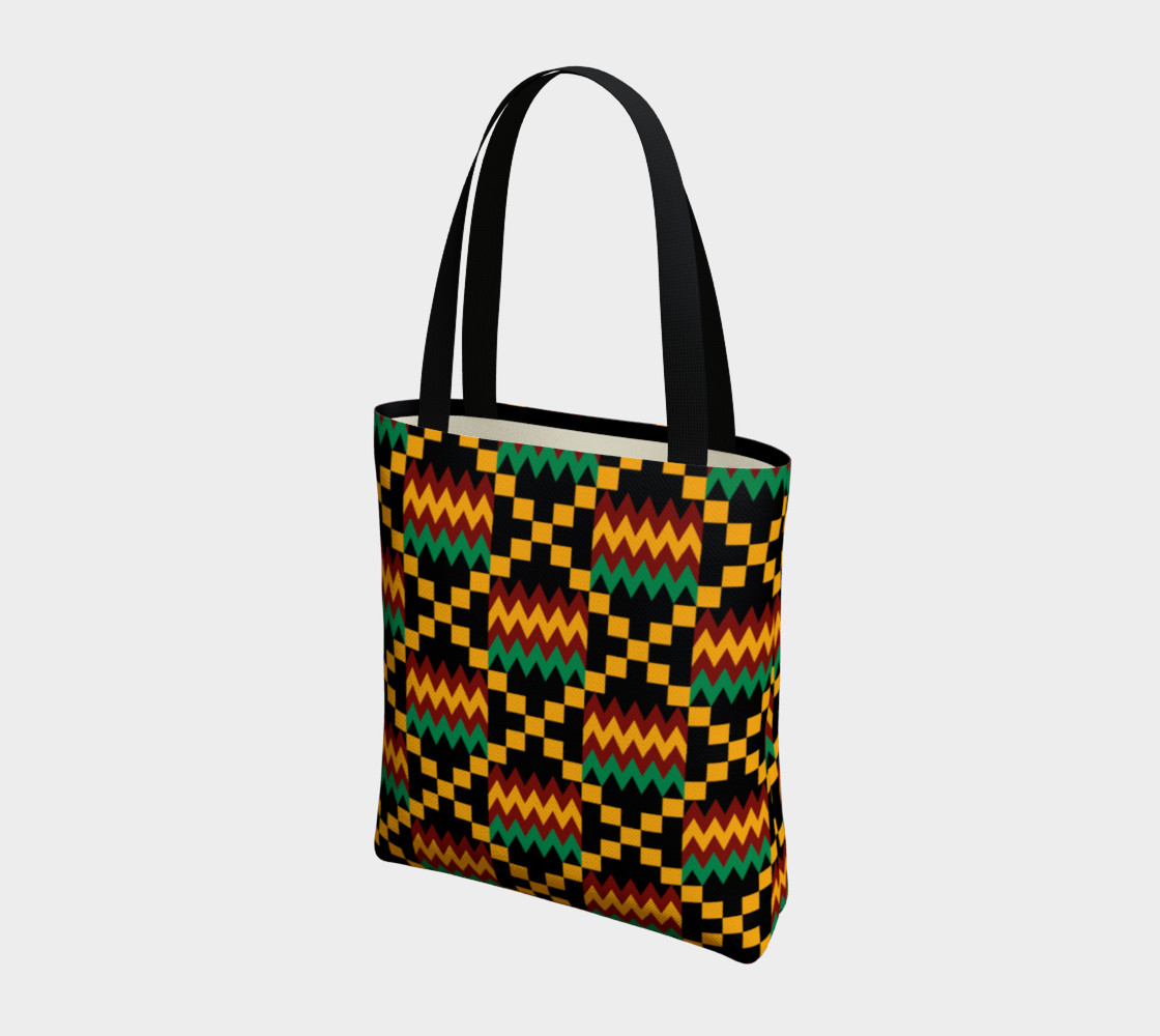 Green, Yellow, and Dark Red Kente Cloth Pattern on Black preview #3