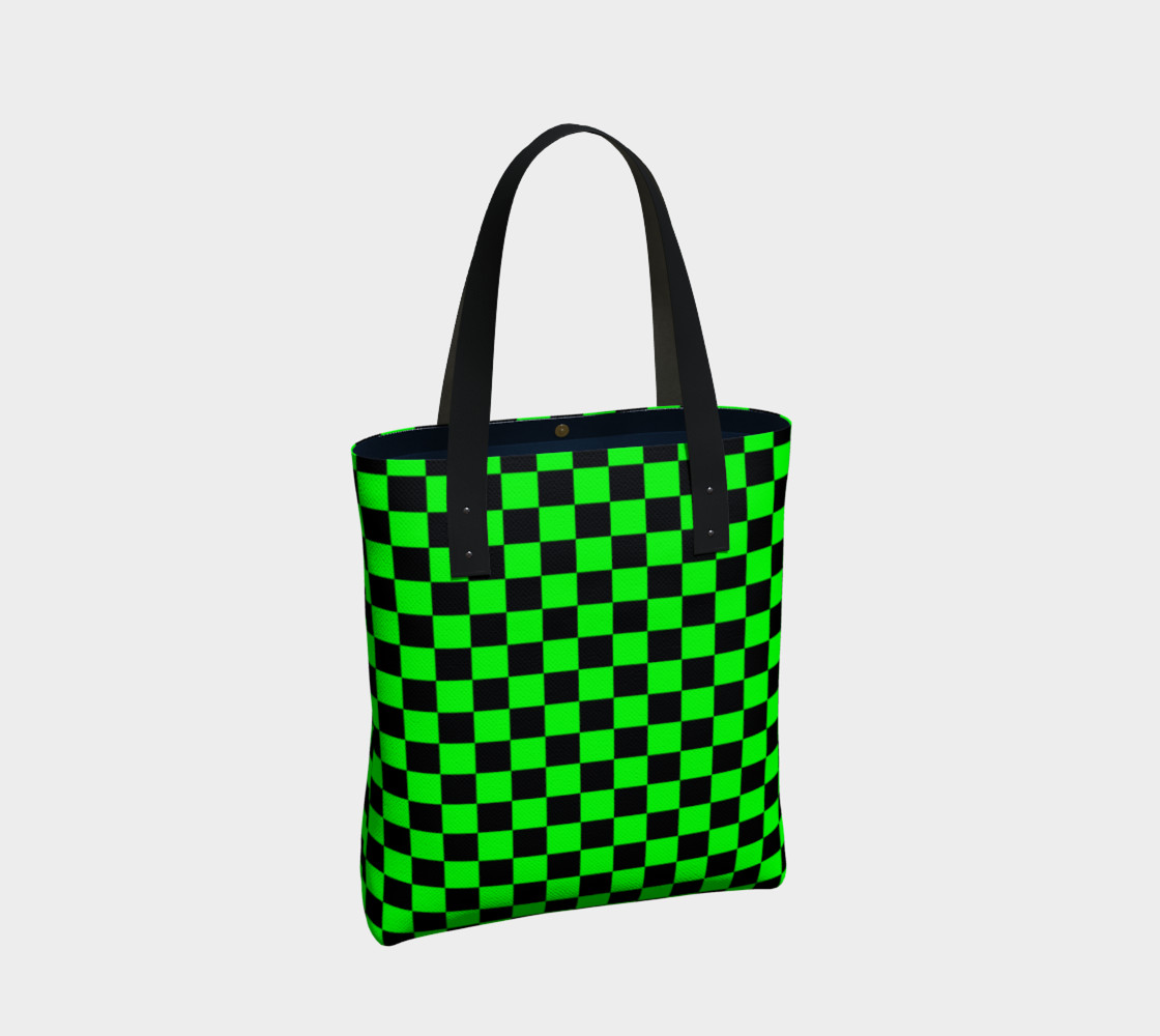 Aperçu de Black and Lime Green Checkerboard #2