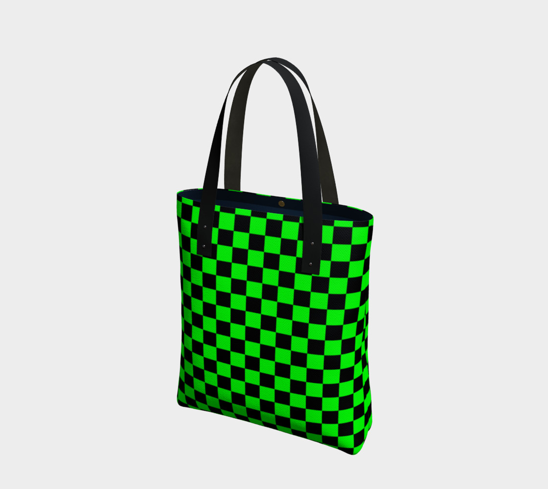 Aperçu de Black and Lime Green Checkerboard #1