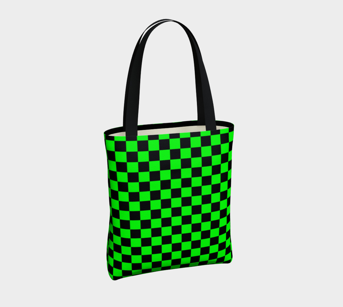 Black and Lime Green Checkerboard Miniature #5
