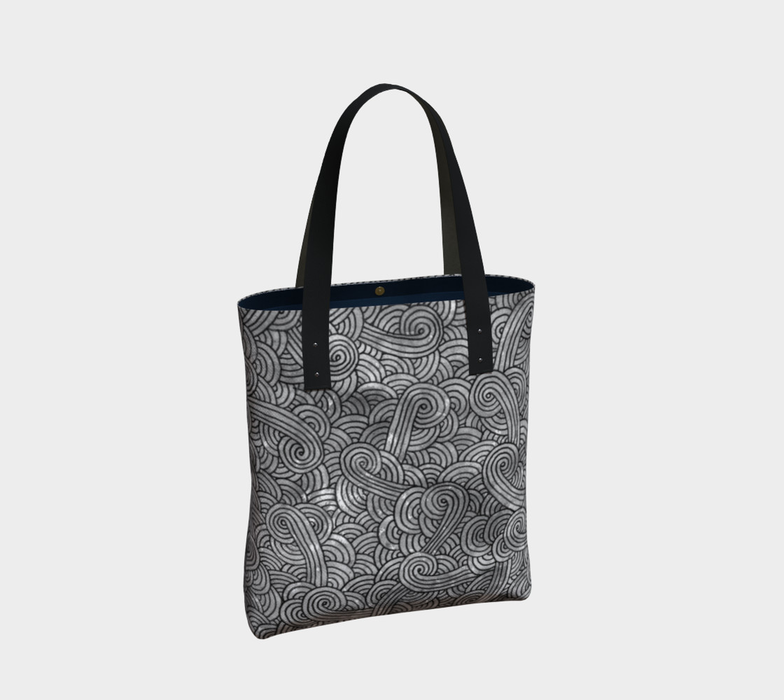 Grey and black swirls doodles Tote Bag preview #2