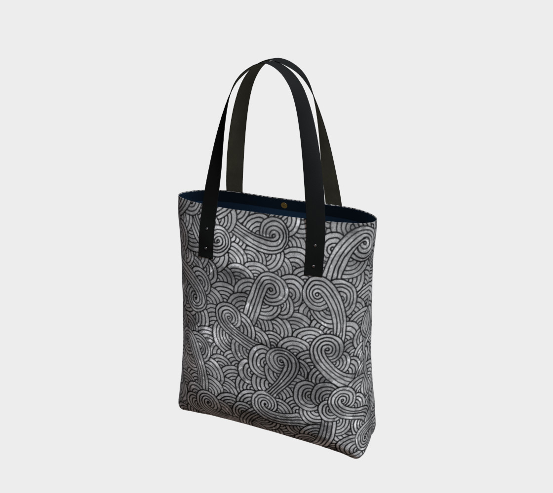 Grey and black swirls doodles Tote Bag preview #1