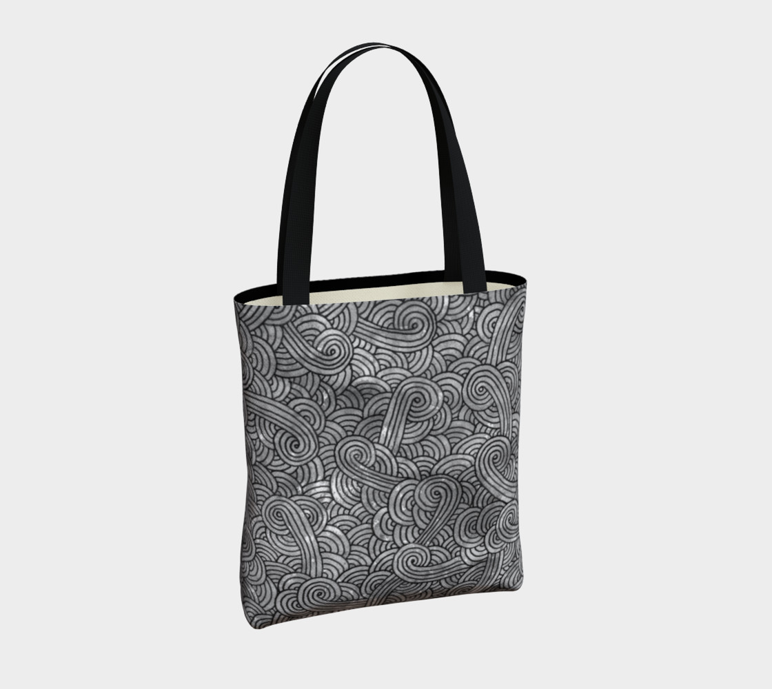 Grey and black swirls doodles Tote Bag preview #4