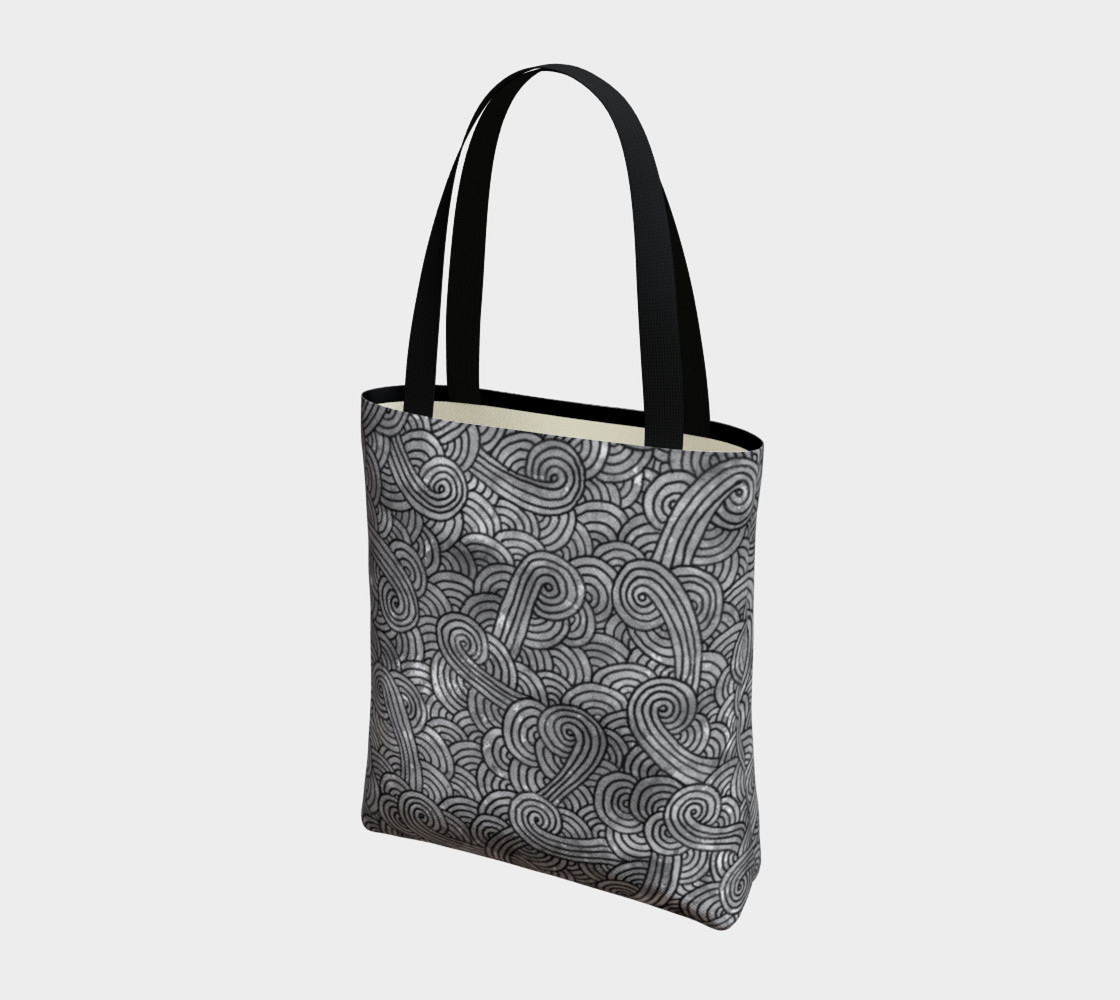 Grey and black swirls doodles Tote Bag preview #3