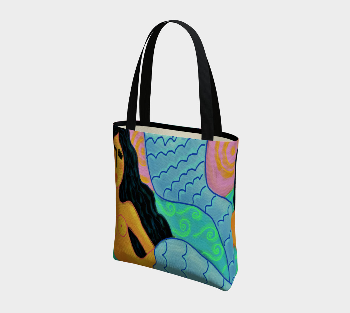 Aperçu de Colorful Abstract Mermaid Shoulder Bag #3