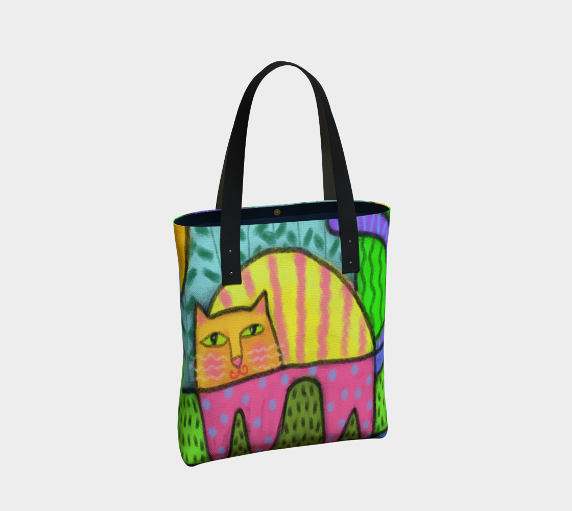 Funky Cat Abstract Art Tote Bag preview #2