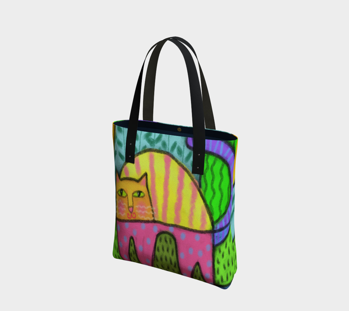 Funky Cat Abstract Art Tote Bag preview #1