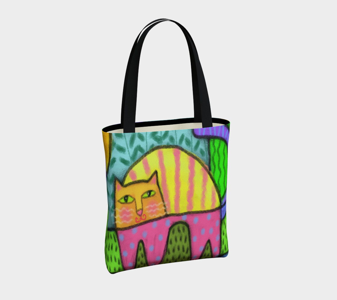 Funky Cat Abstract Art Tote Bag preview #4