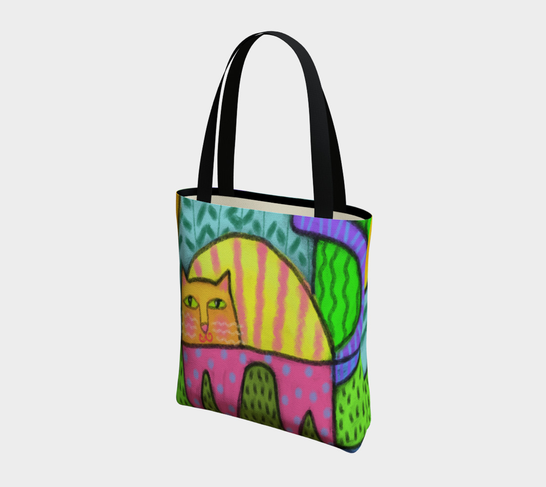 Funky Cat Abstract Art Tote Bag preview #3
