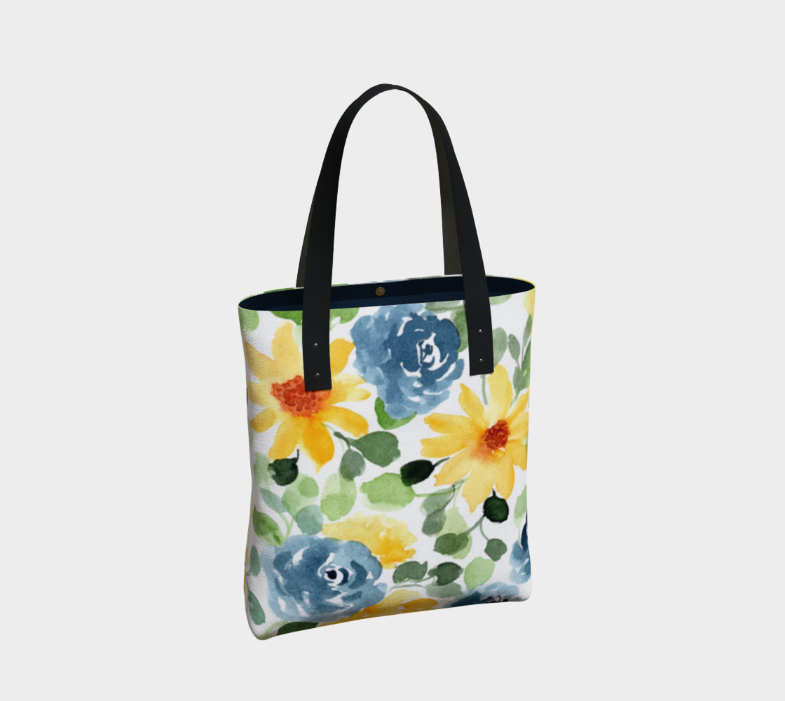 Lovely Watercolor Blue and Yellow Floral  preview #2