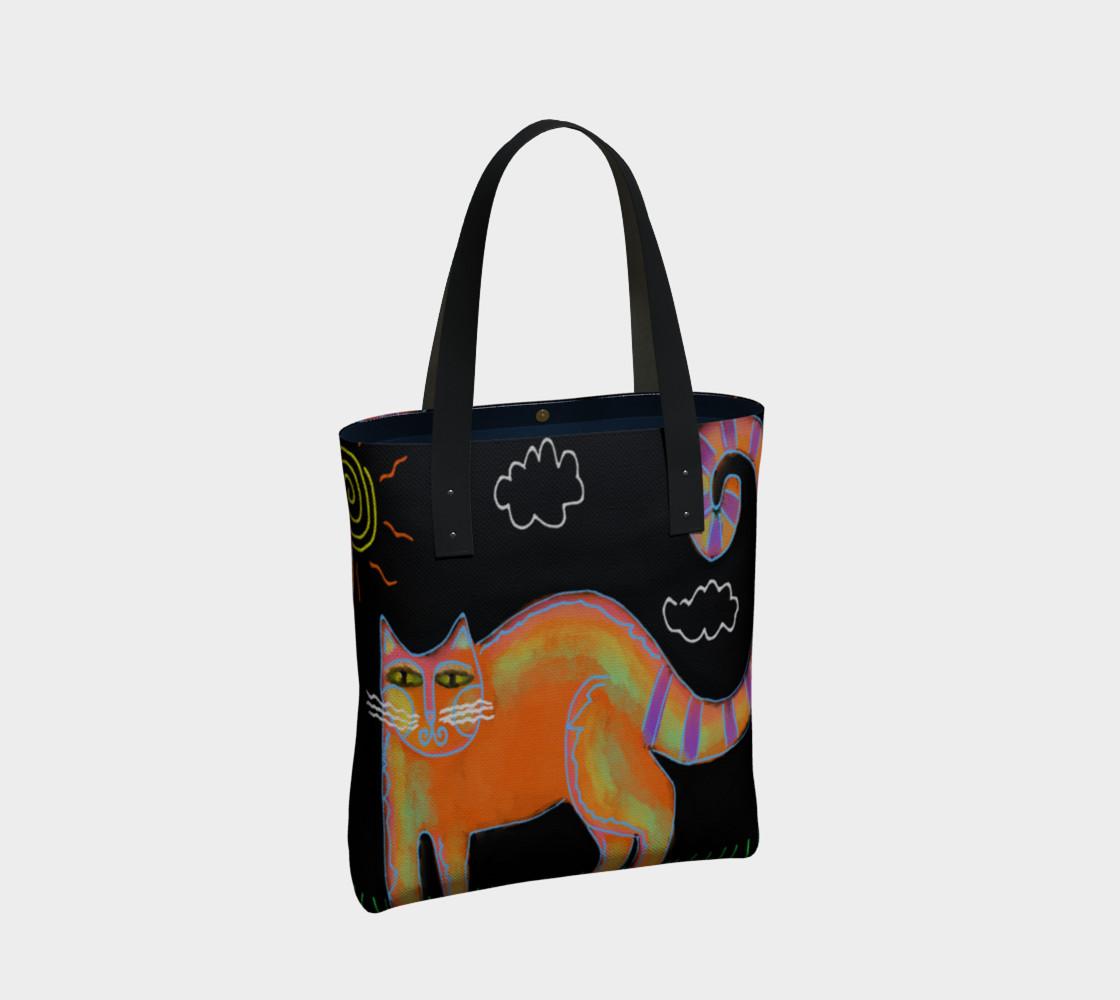 Aperçu de Orange Cat with Sun Abstract Art Shoulder Bag #2