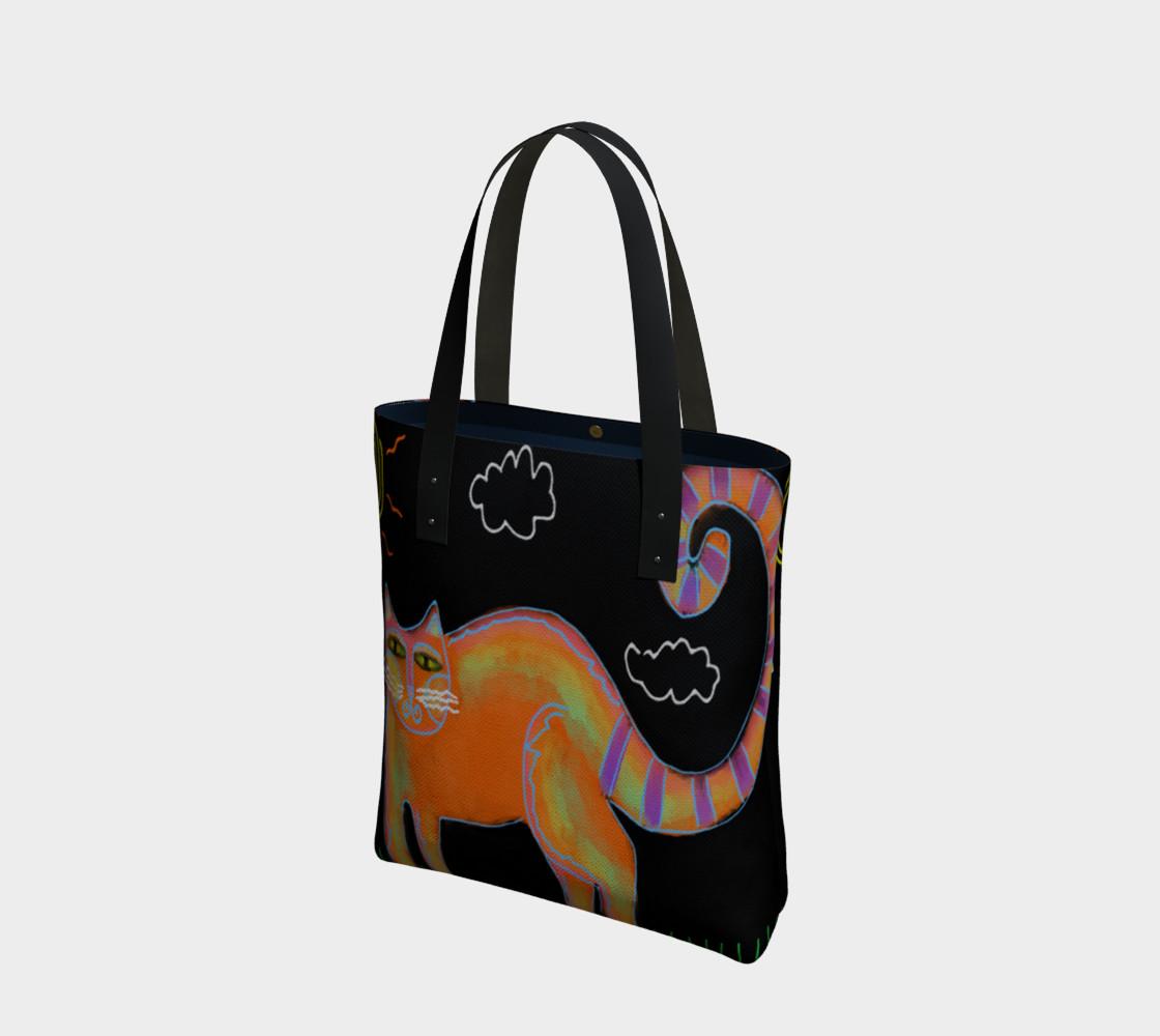 Aperçu de Orange Cat with Sun Abstract Art Shoulder Bag #1