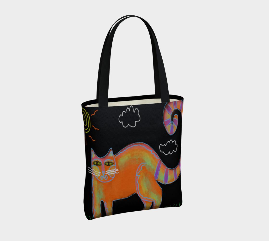 Aperçu de Orange Cat with Sun Abstract Art Shoulder Bag #4