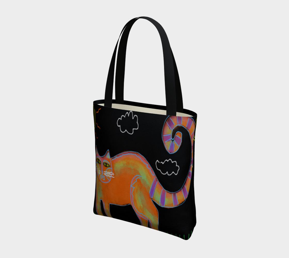 Aperçu de Orange Cat with Sun Abstract Art Shoulder Bag #3