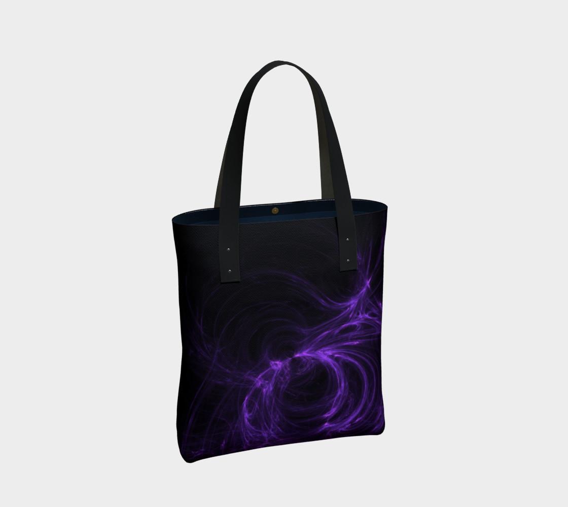Purple Fractal on Black Tote Bag preview #2