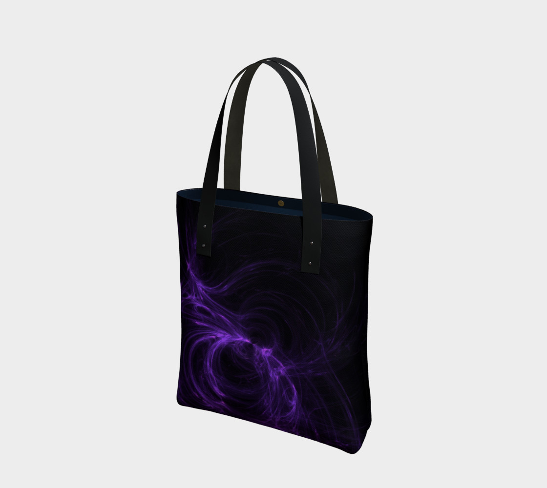 Purple Fractal on Black Tote Bag preview #1