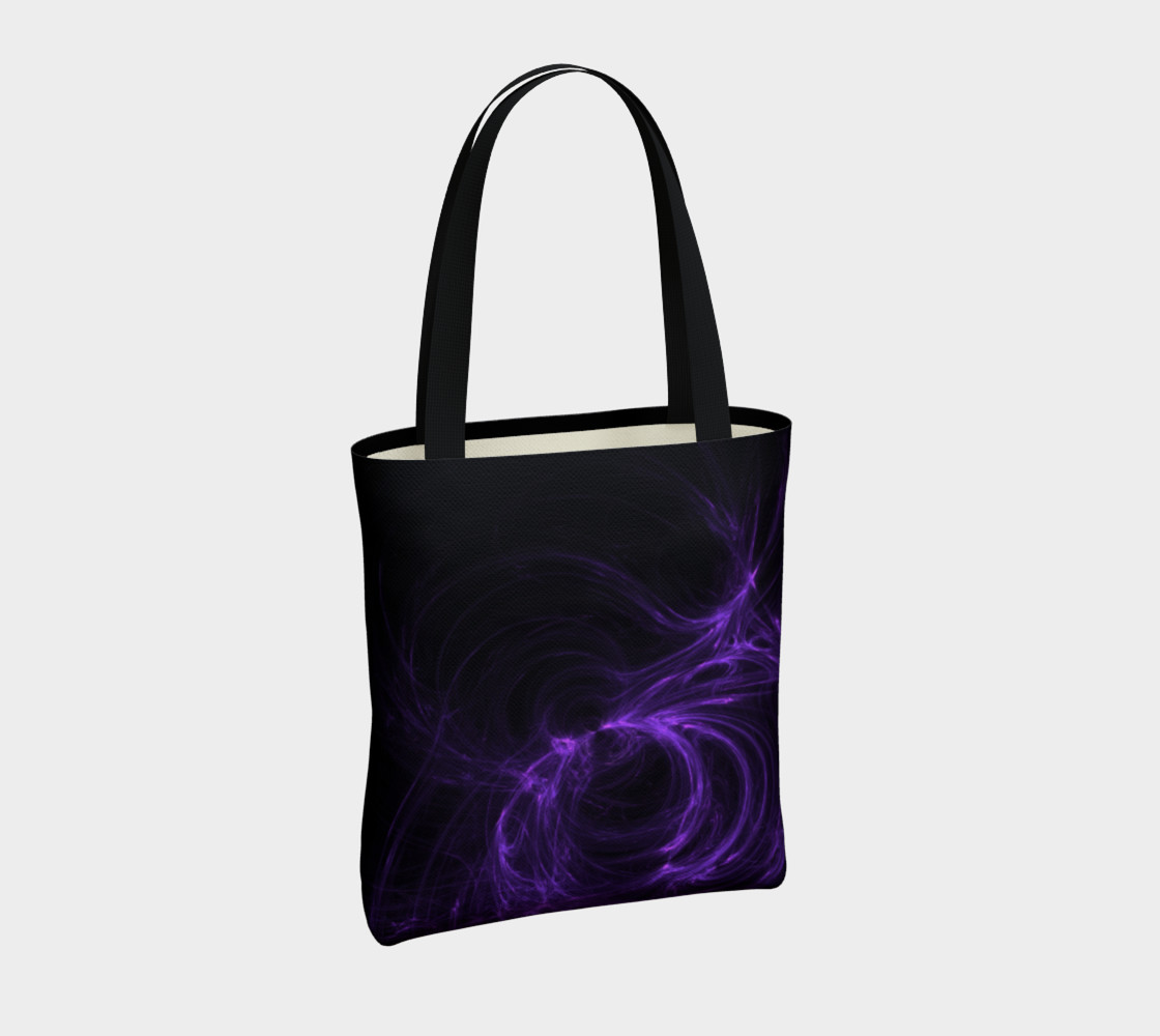Purple Fractal on Black Tote Bag preview #4