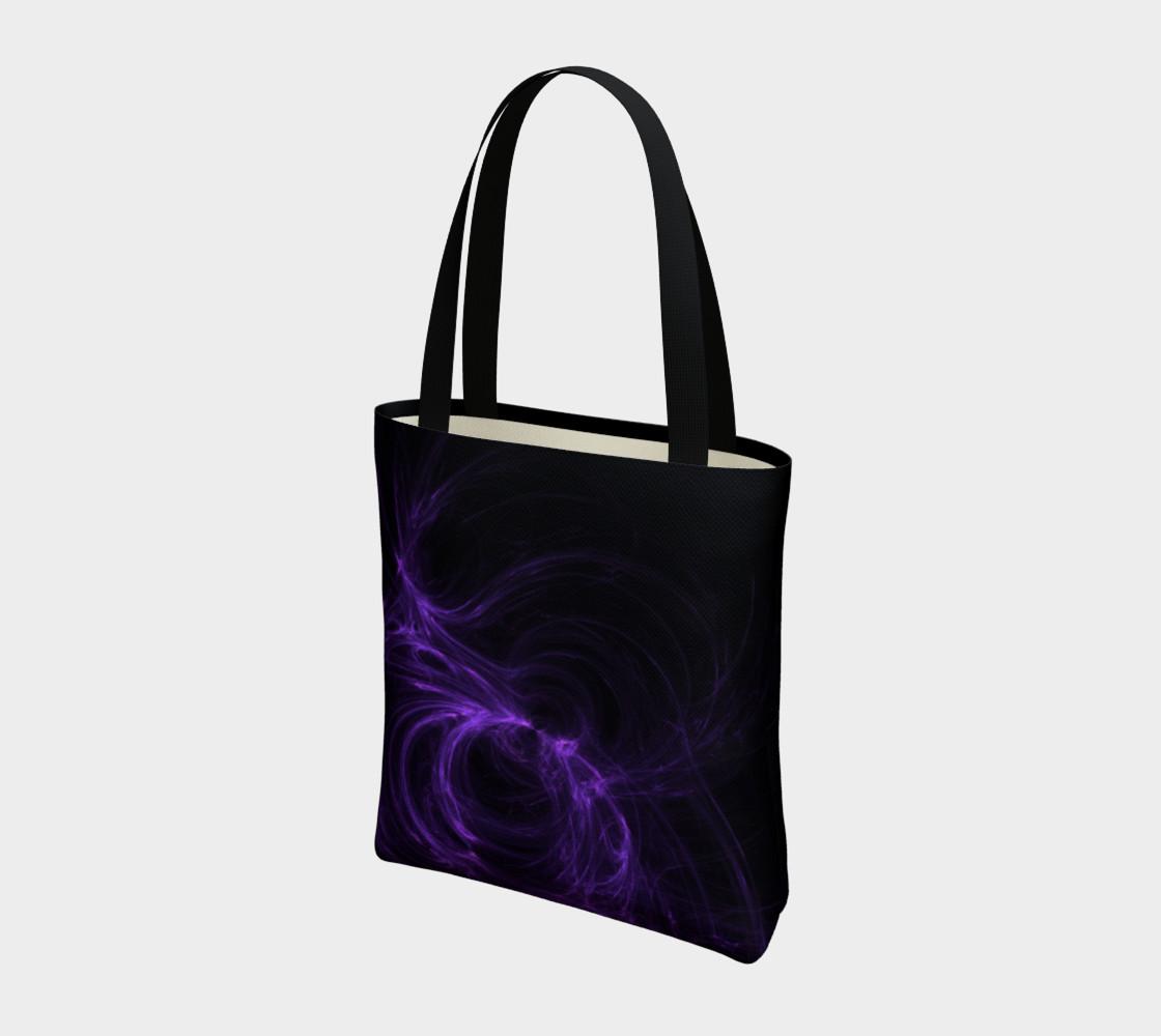 Purple Fractal on Black Tote Bag preview #3