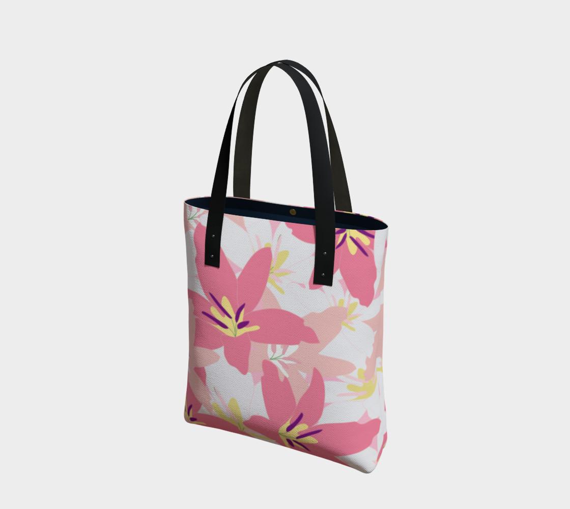 Aperçu de Pink Tropical Floral Tote bag #1