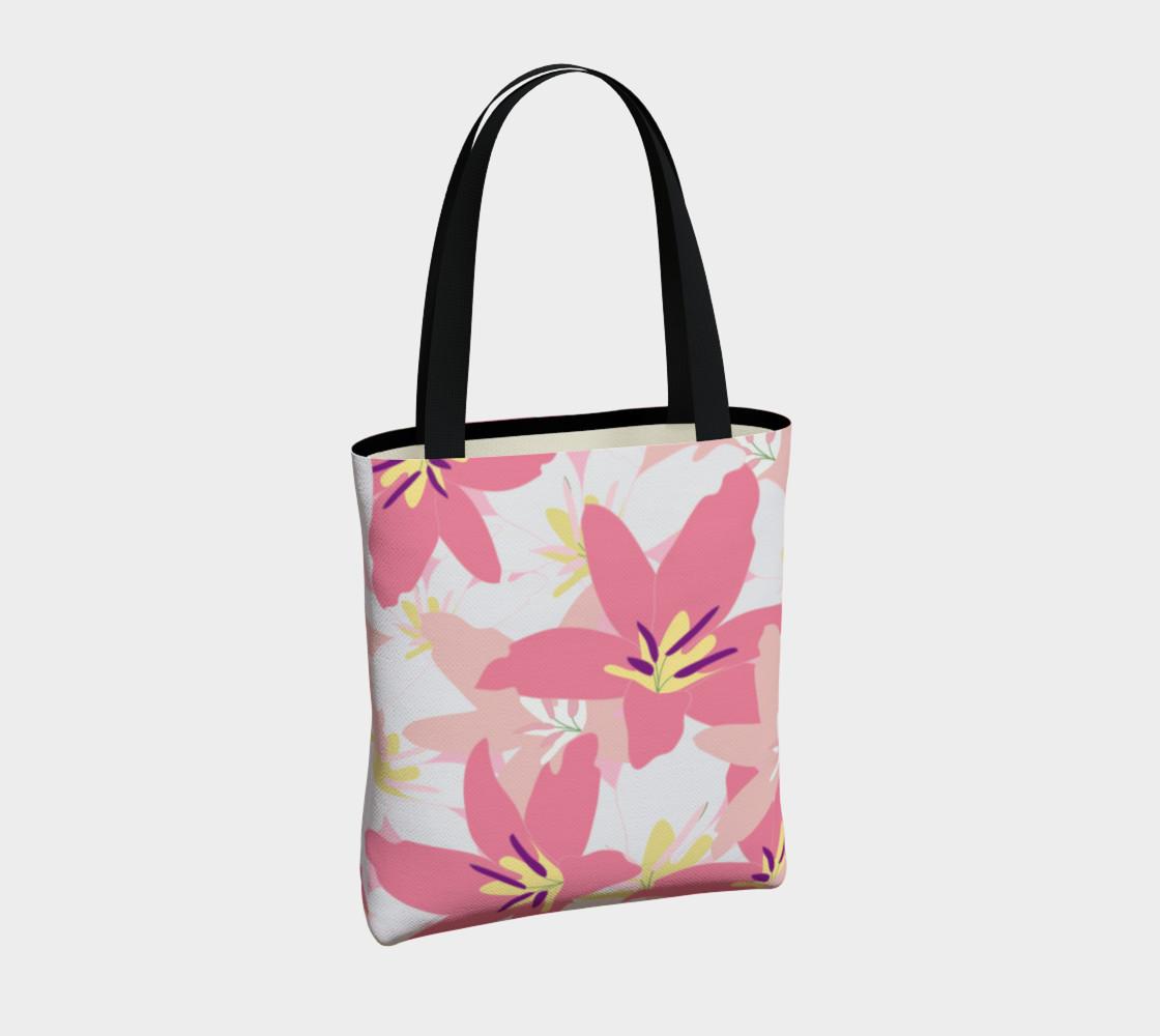 Aperçu de Pink Tropical Floral Tote bag #4