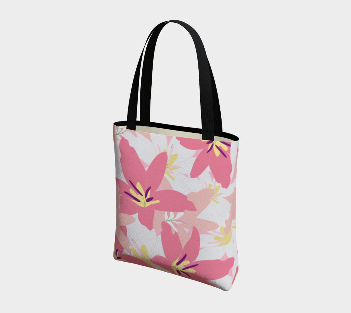 Aperçu de Pink Tropical Floral Tote bag #3