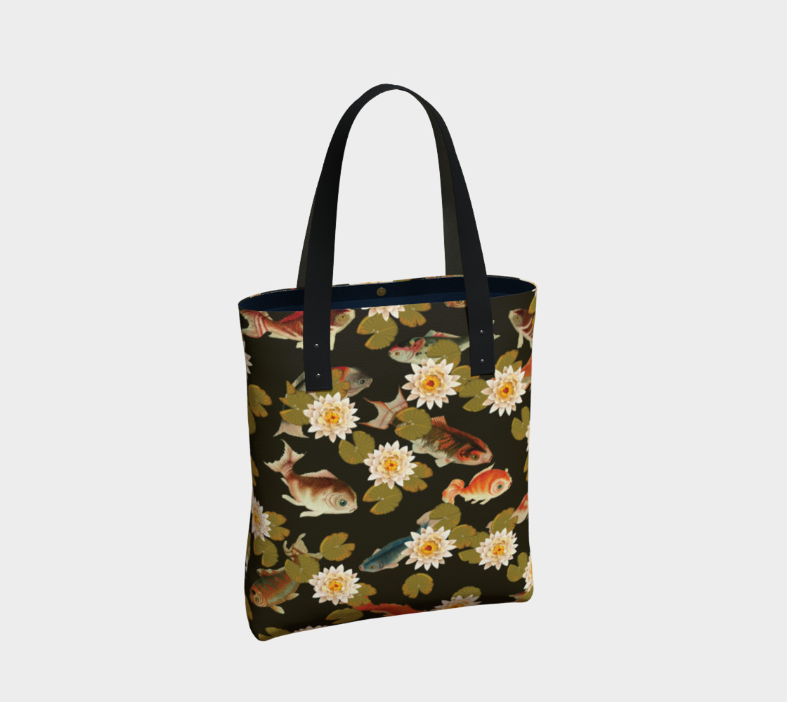Koi & Lily Pads in Dark Water - Tote Bag preview #2