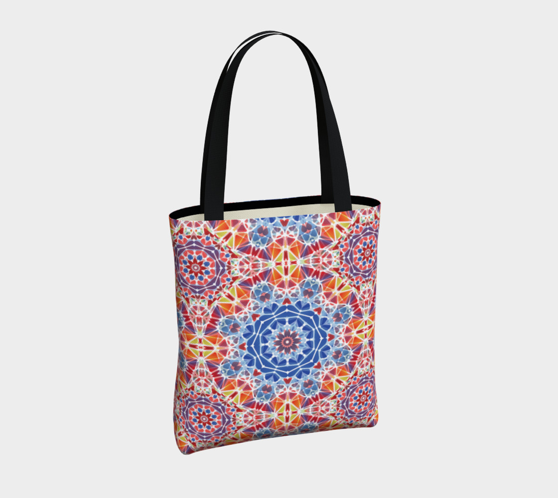 Blue and Orange Kaleidoscope Tote Bag preview #4