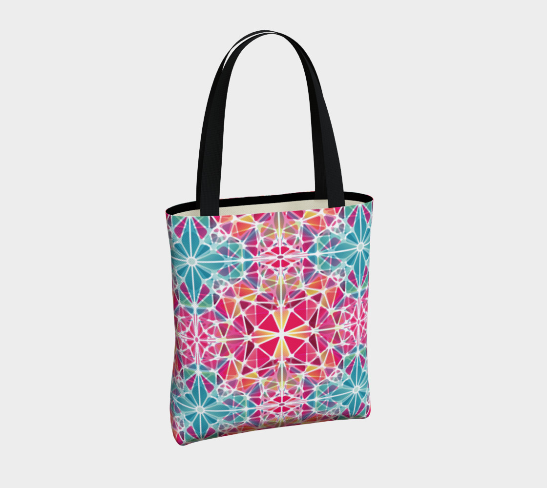 Pink and Blue Kaleidoscope Tote Bag preview #4