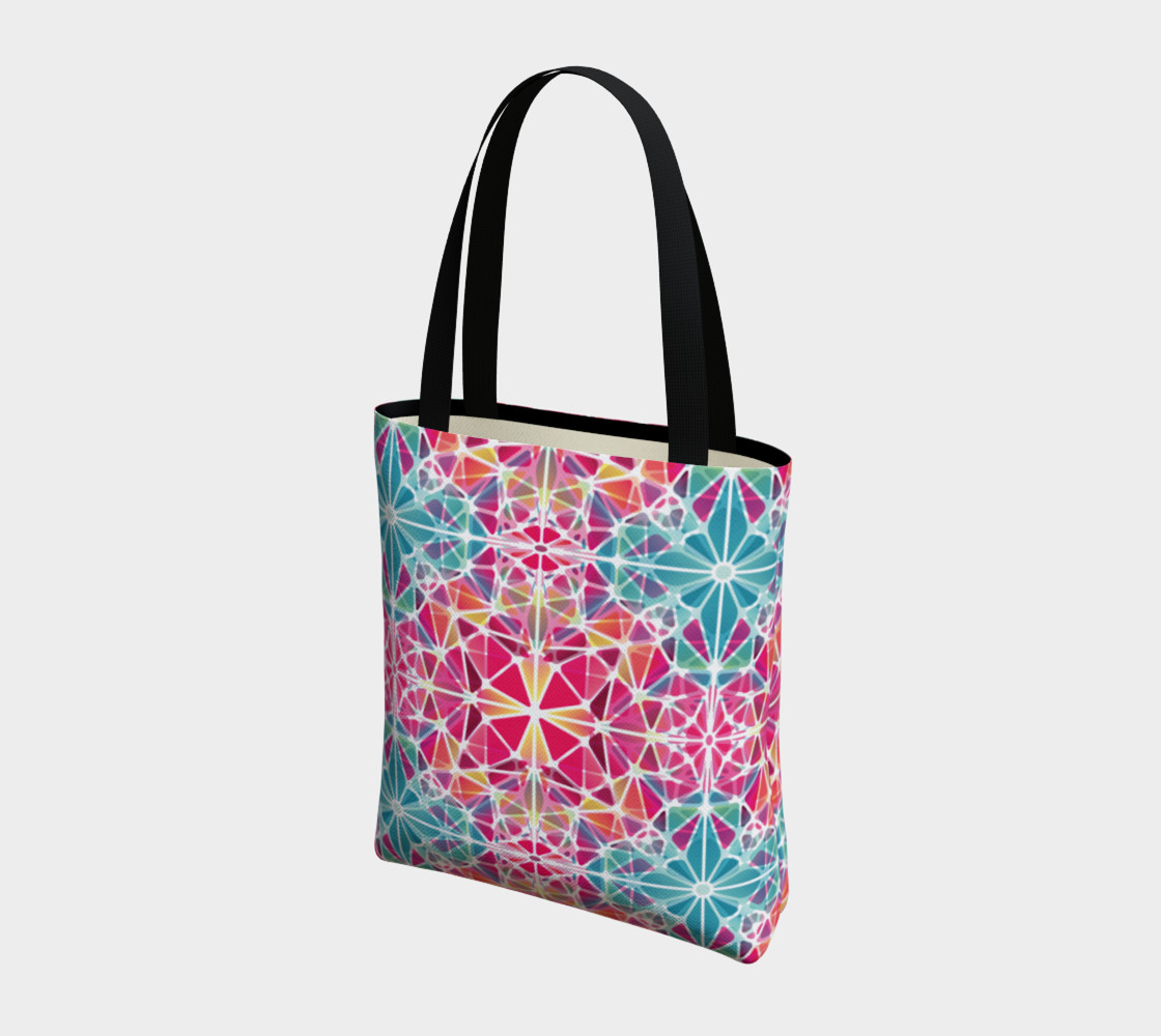 Pink and Blue Kaleidoscope Tote Bag preview #3