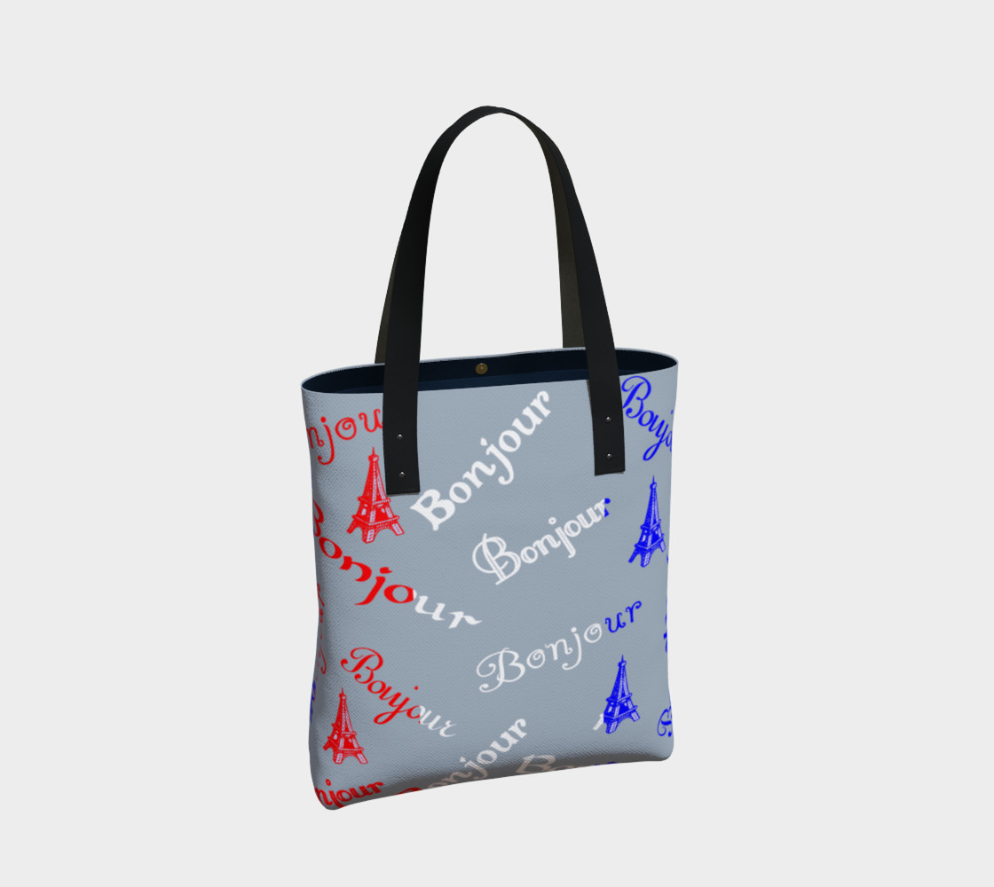 French Flag Bonjour Tote Bag preview #2