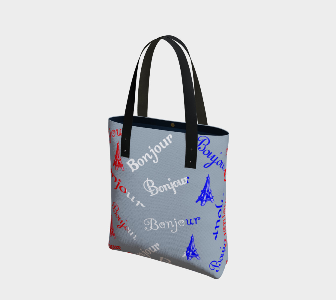 French Flag Bonjour Tote Bag preview #1