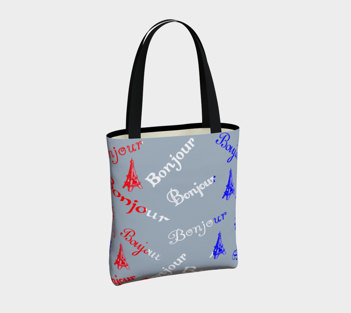 French Flag Bonjour Tote Bag preview #4
