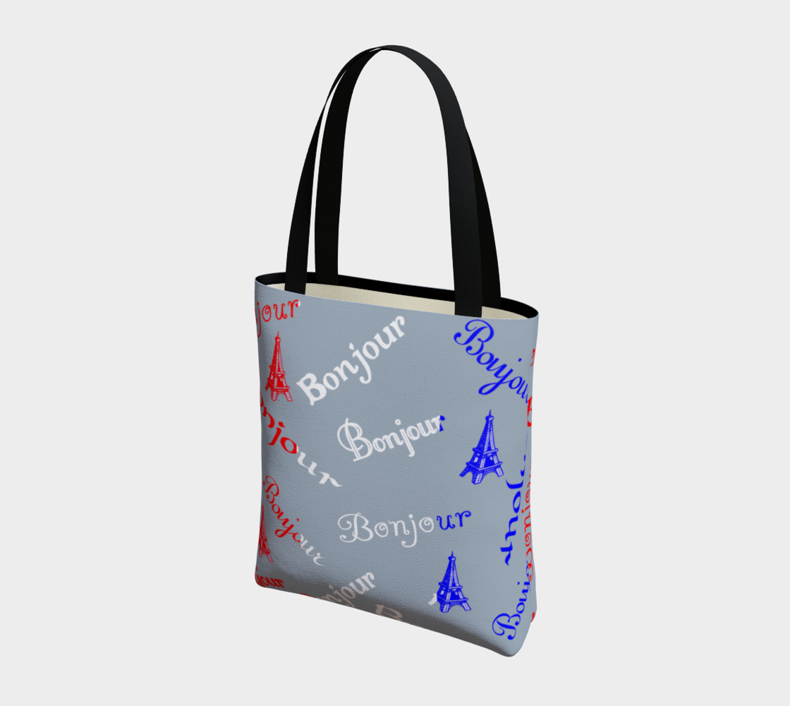 French Flag Bonjour Tote Bag preview #3