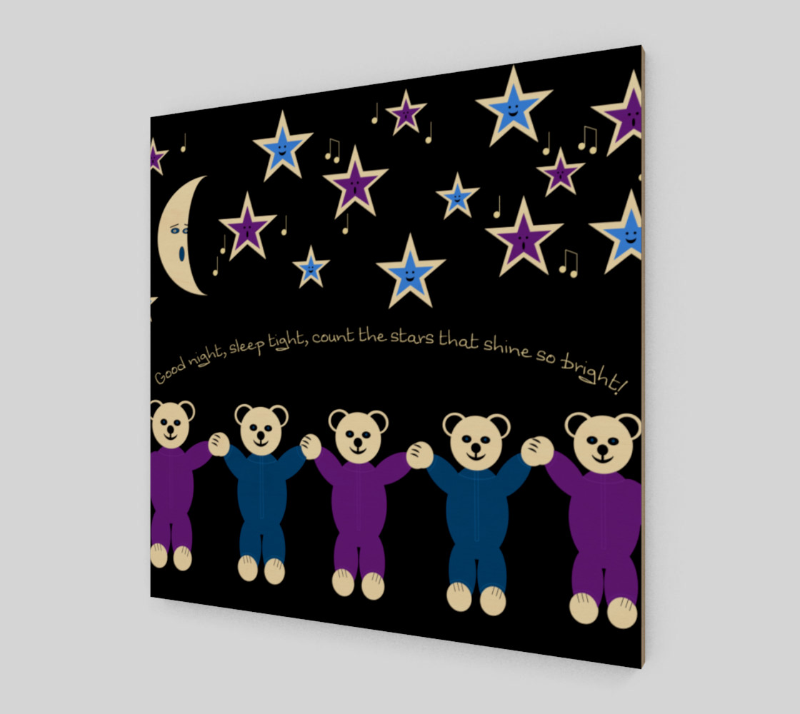 Purple and Blue Sleepy Bears Wall Art poster preview #2