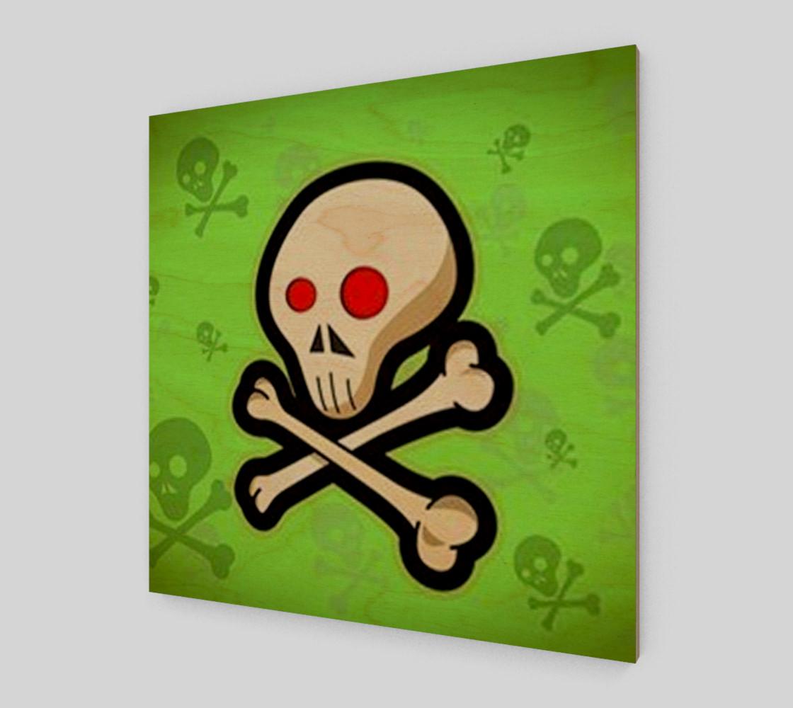 Cartoon Skull On Green Wall Art preview #1