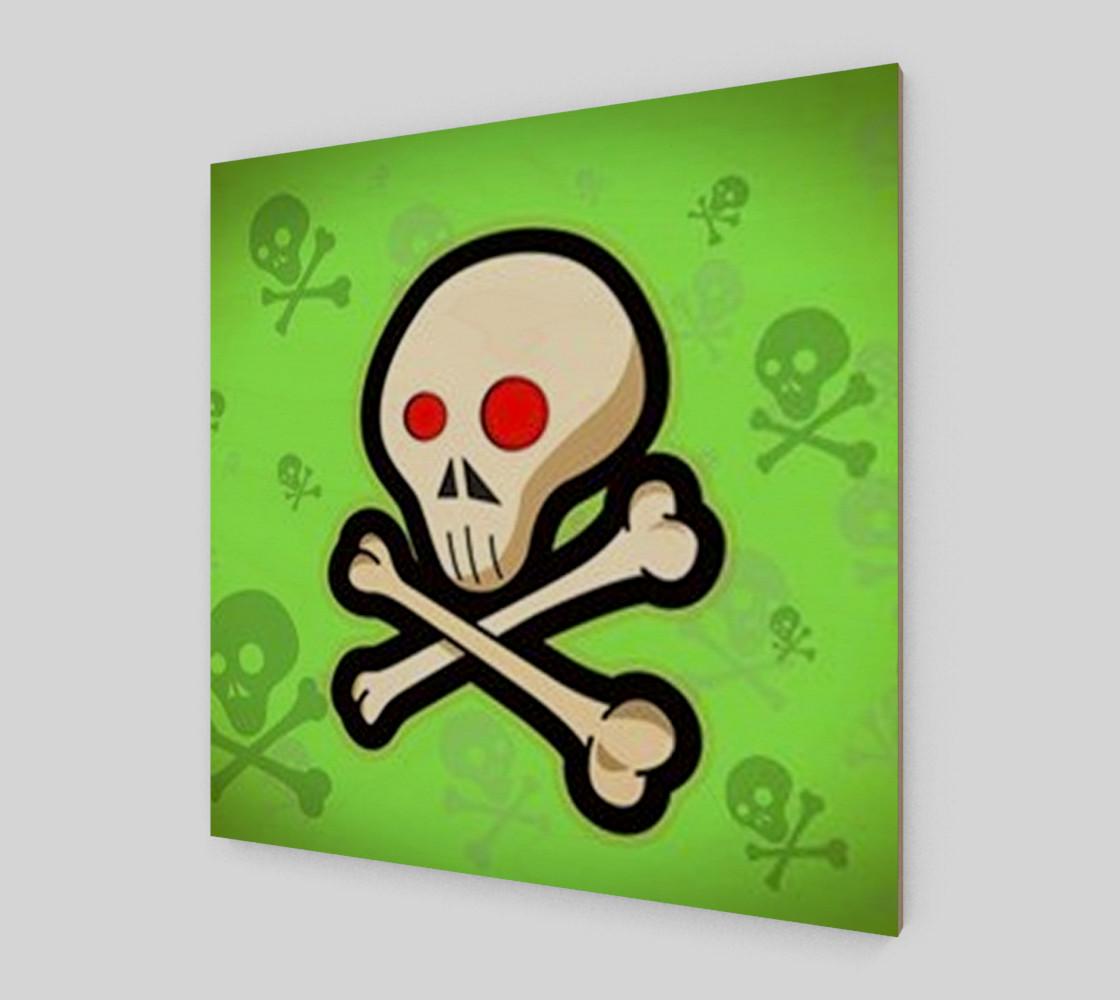 Cartoon Skull On Green Wall Art preview #2