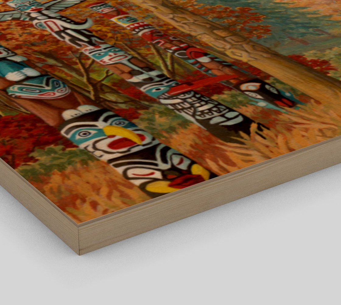 Vancouver Totem Landscape Cityscape Painting Printed on Canvas preview #3