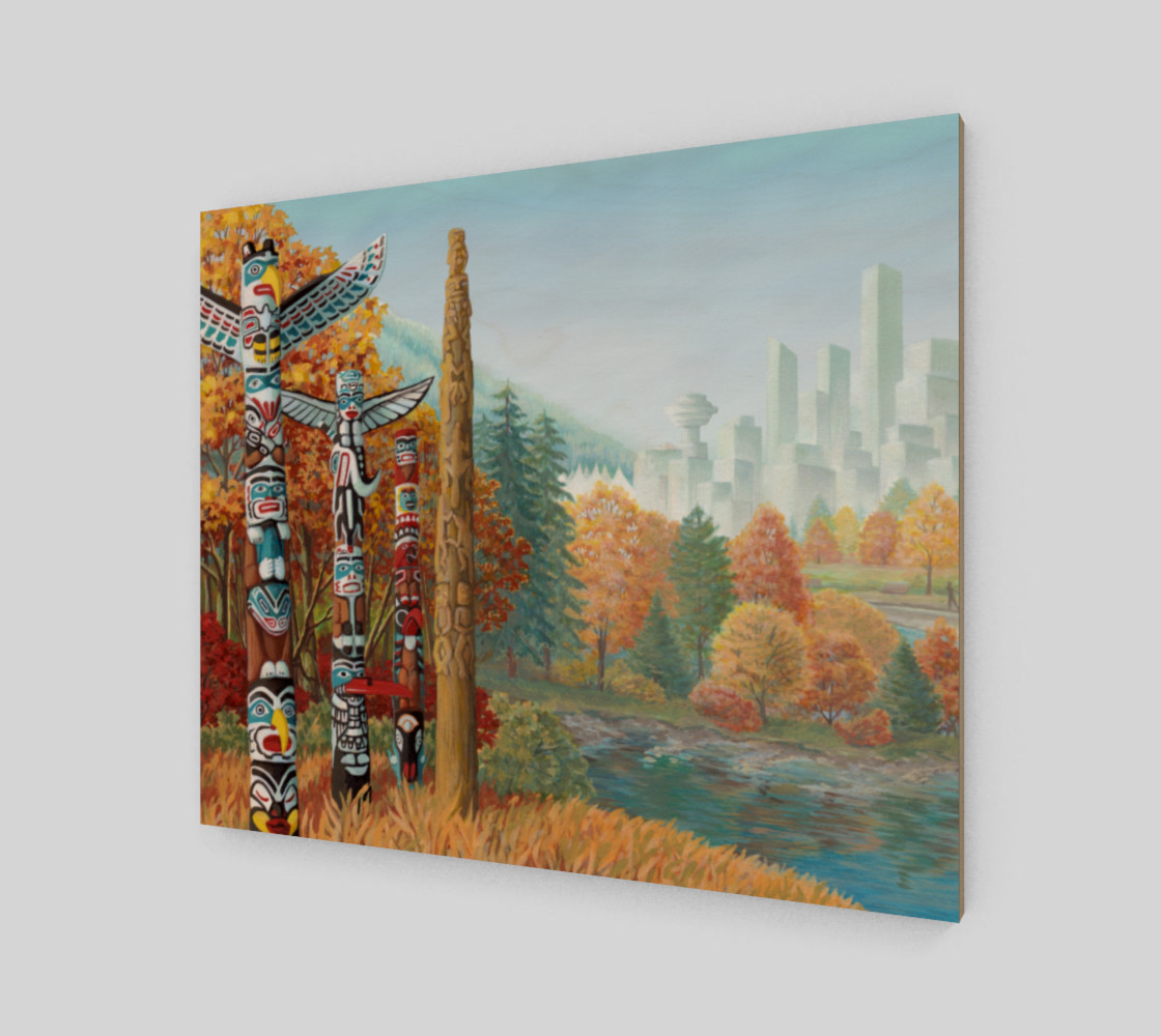 Vancouver Totem Landscape Cityscape Painting Printed on Canvas preview #2