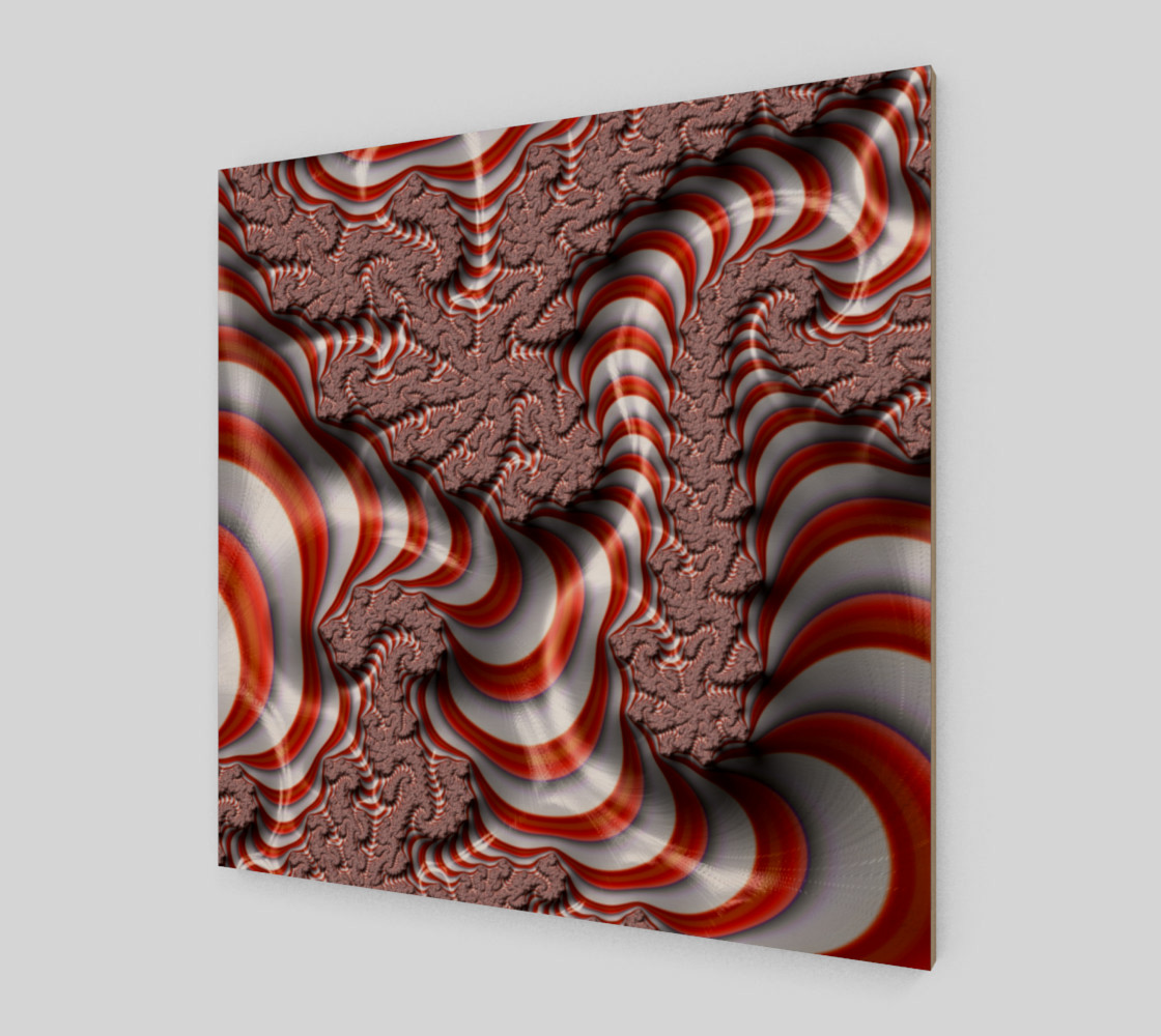 Candy Cane Fractal Wall Art Wood Print preview #2
