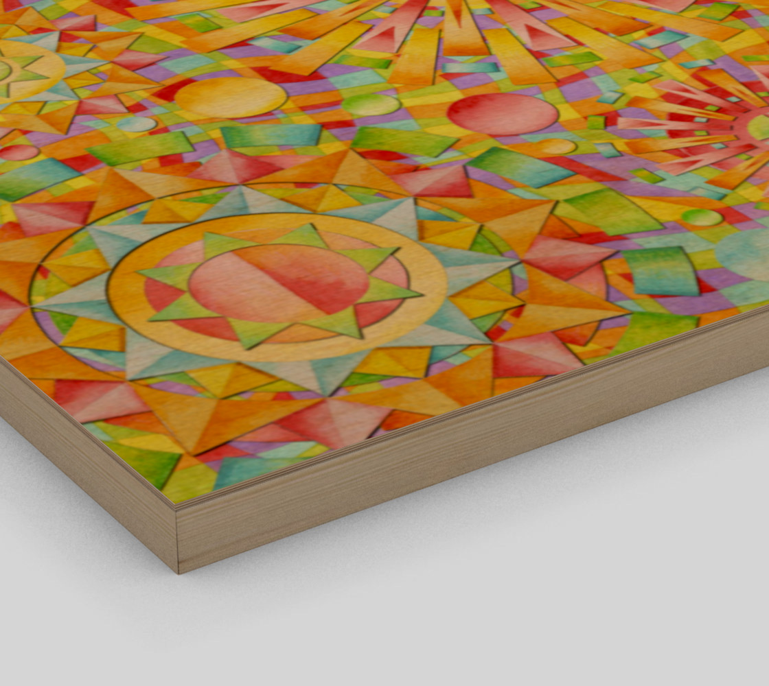 Aperçu de Candy Rainbow Mandala Wood Print #3